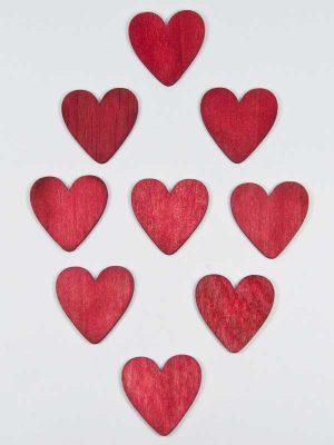 rode houten hartjes 4 cm 9 stuks