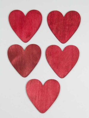 houten hartjes rood 6cm 5 stuks
