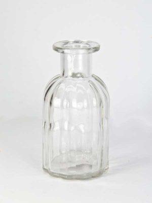 flesje helder glas met ribbels, klein model