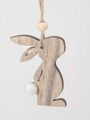 Houten konijntje met wit staartje, staande houding