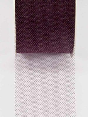tule lint in de kleur wijnrood, 50 mm breed