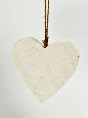 houten hart hanger wit