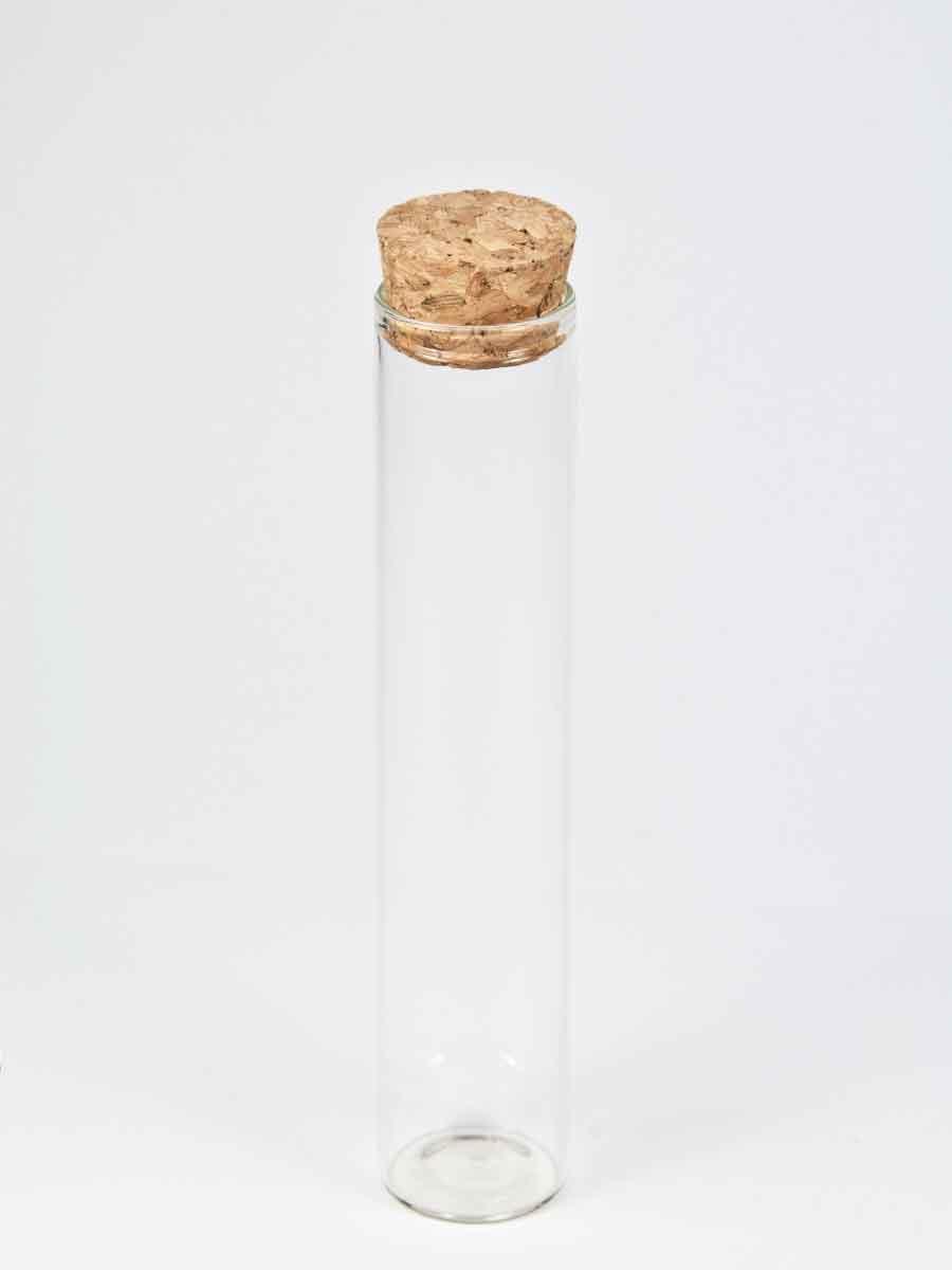 glazen buisje met vlakke bodem en kurk 15 cm