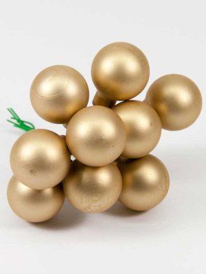 kerstballetjes mat goud 25 mm setje 9 stuks