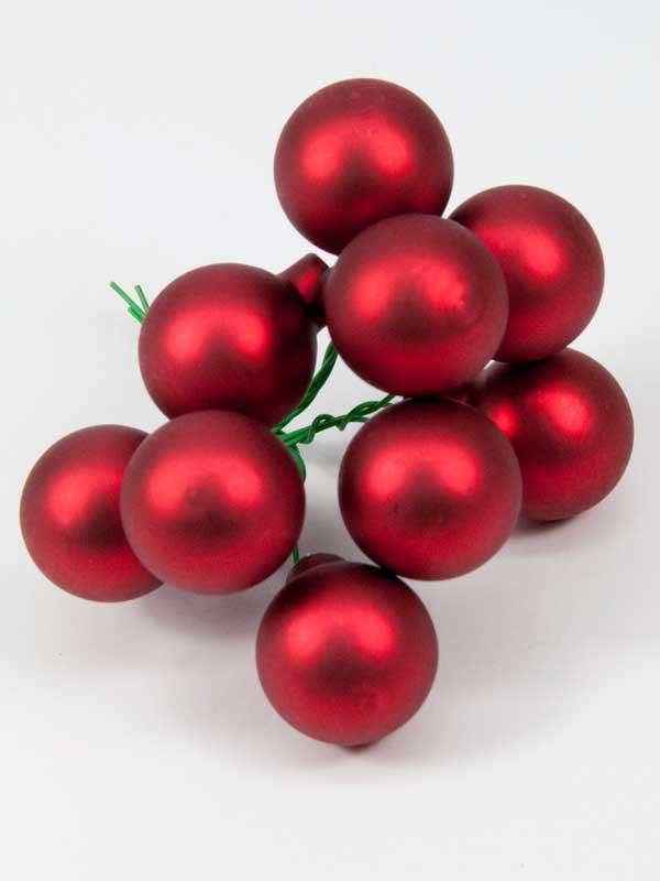 kerstballetjes rood mat 25 mm setje 9 stuks