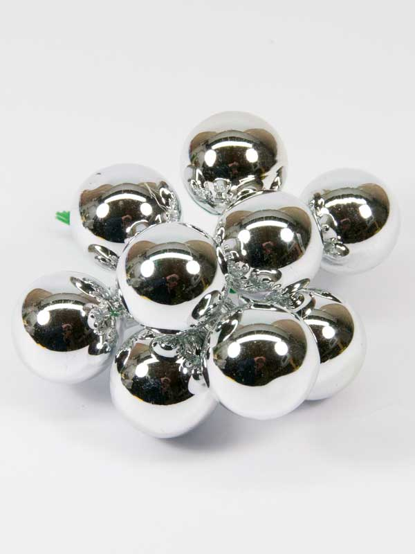 kerstballetjes glimmend zilver 25 mm setje 9 stuks