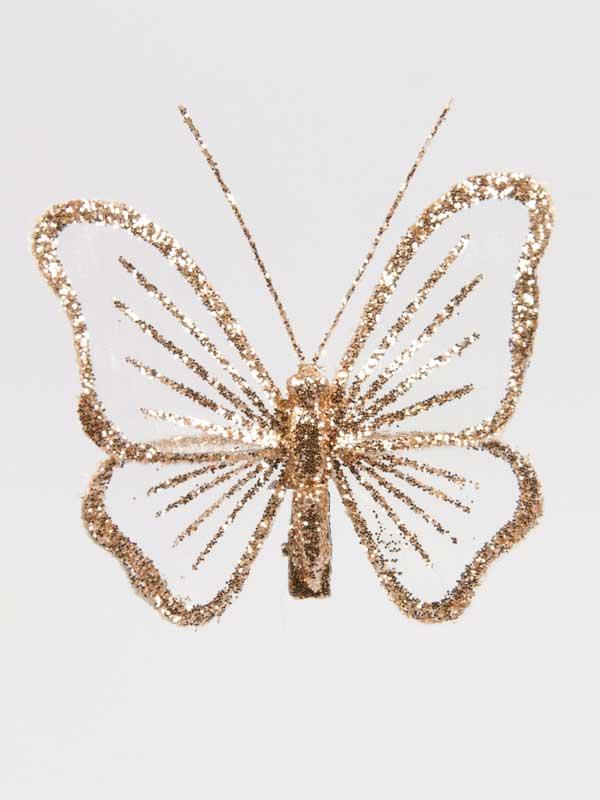 Vlinder met glitter champagnekleurig