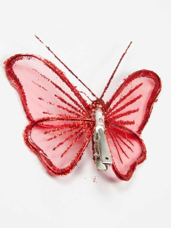 achterzijde van de vlinder met de clip zichtbaar