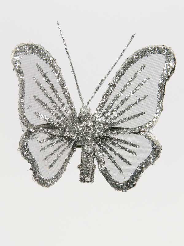 vlinder zilver glitter 9 cm