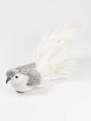 decoratievogel glitter en witte veren