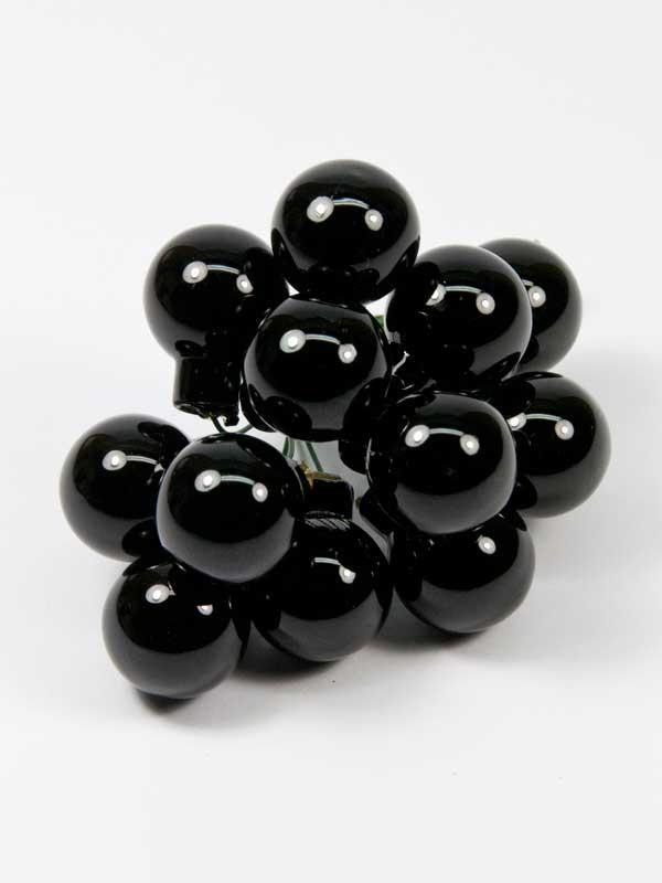zwarte kerstballetjes 20mm 12 stuks