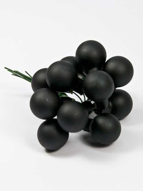 kerstballetjes mat zwart 12 stuks