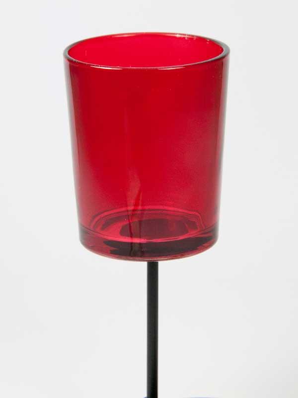 theelichthouder glas, rood