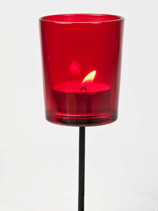 theelichthouder rood glas