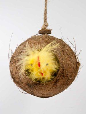 Vogelhuisje coco met fluffy kip