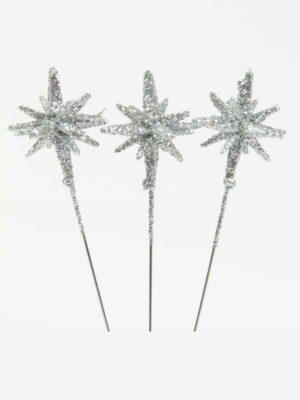 3-D speld stervormig zilver glitter