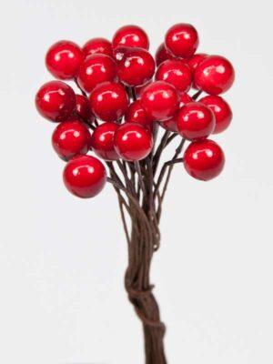 decoratie besjes rood op draad