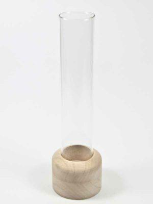 glazen buis met houten voet