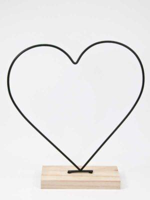 hartvormig frame op houten standaard