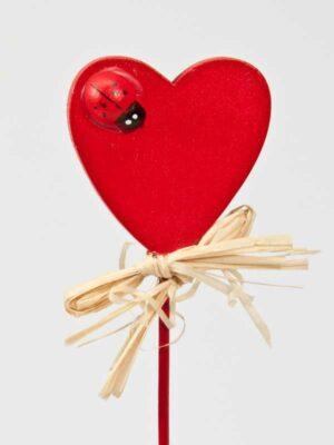 voor moderdag of valentijn: hart met lieveheersbeestje en strikje op stok