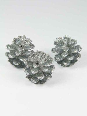 Glitter dennenappels zilver 3 stuks